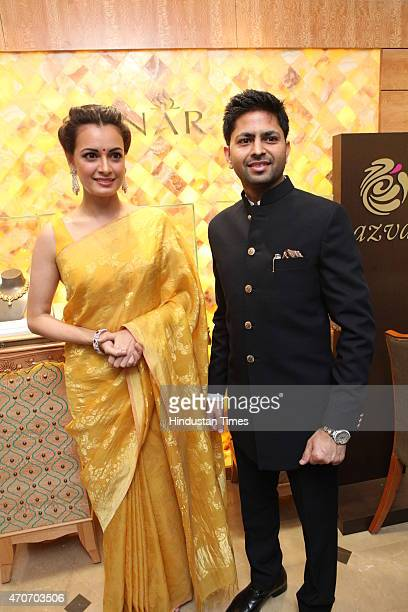 Bollywood actor Dia Mirza and Praveen Goel CMD Sunar during the launch of Sunar Jewelry on April 20 2015 in New Delhi India