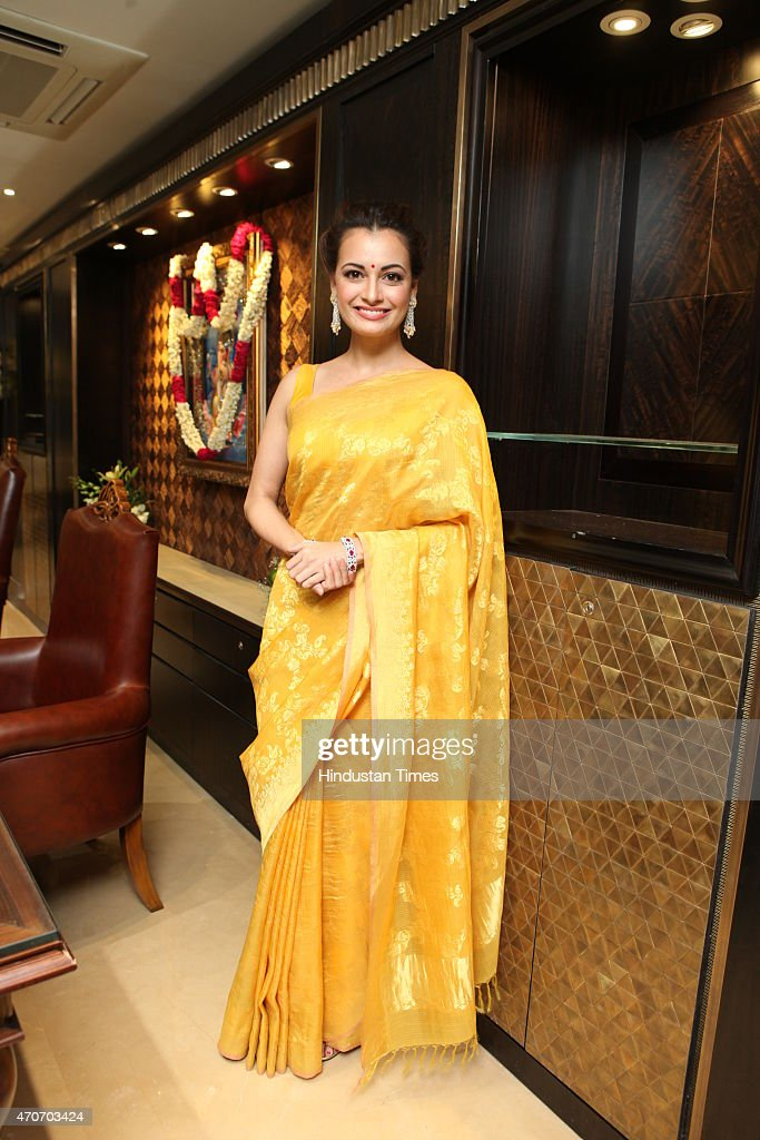 Bollywood actor <a gi-track='captionPersonalityLinkClicked' href=/galleries/search?phrase=Dia+Mirza&family=editorial&specificpeople=696826 ng-click='$event.stopPropagation()'>Dia Mirza</a> during the launch of Sunar Jewelry on April 20, 2015 in New Delhi, India.