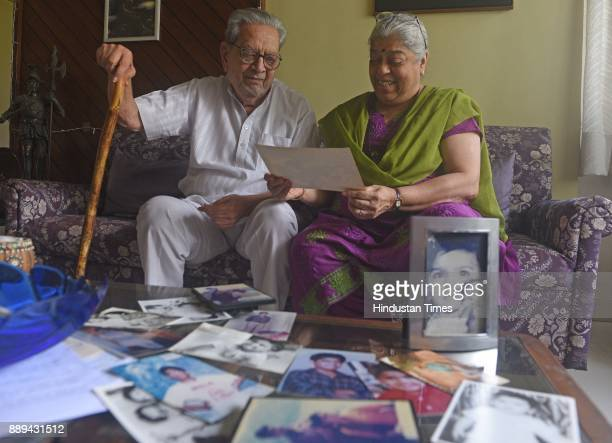 Bollywood actor Dr Shreeram Lagoo and his wife Deepa Lagoo during an exclusive interview wtih Hindustan Times at their residence at Karve Nagar on...