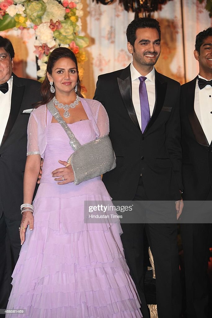 Bollywood actor Esha Deol with her husband Bharat Takhtani during the wedding reception of her sister Ahana Deol and Vaibhav Vohra on February 5, 2014 in New Delhi, India. Ahana, a budding Odissi dancer, is the daughter of Bollywood stars Dharmendra and Hema Malini while Vaibhav in an Indian businessman. They married on February 2, 2014 in Mumbai.