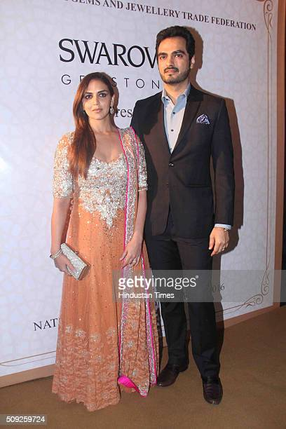 Bollywood actor Esha Deol with her husband Bharat Takhtani during the Swarovski Gemstones National Jewellery Awards 201516 on February 6 2016 in...