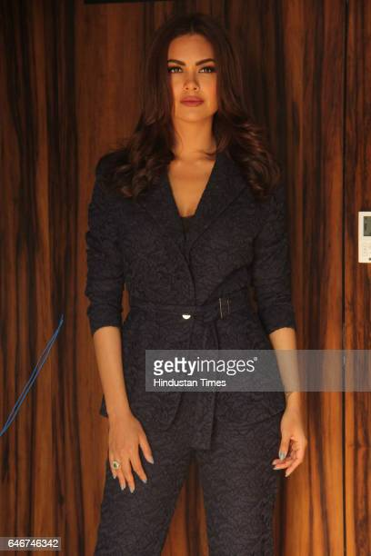 Bollywood actor Esha Gupta poses during a promotional event of a movie at Andheri on February 27 2017 in Mumbai India