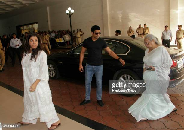 Bollywood actor Farhan Akhtar along with filmmaker Zoya Akhtar during the prayer meeting organised for the late Bollywood veteran Vinod Khanna at...