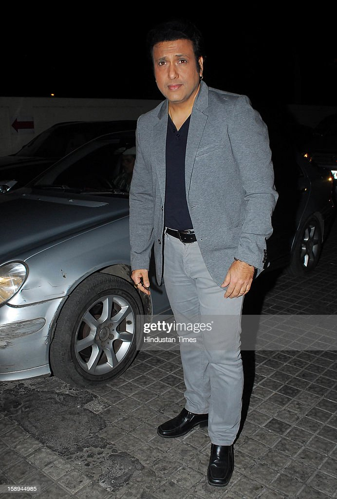 Bollywood actor Govinda attending special screening hosted by Ritesh Deshmukh for his first home production Marathi film 'Balak Palak' at PVR Juhu on January 2, 2012 in Mumbai, India.