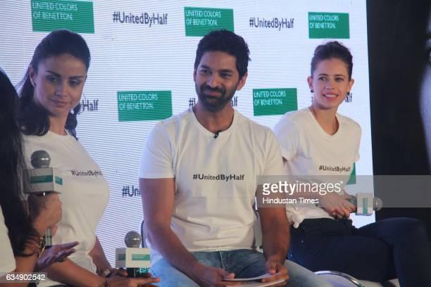 Bollywood actor Gul Panag Purab Kohli and Kalki Koechlin during the launch of #UnitedByHalf campaign by United Colors of Benetton at St Regis Lower...