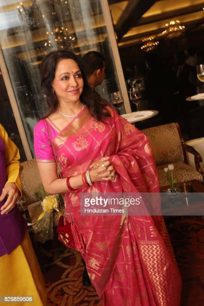 Bollywood actor Hema Malini during a dinner party hosted by Politician T Subbarami Reddy to honour Shobana Kamineni the first woman president of the...