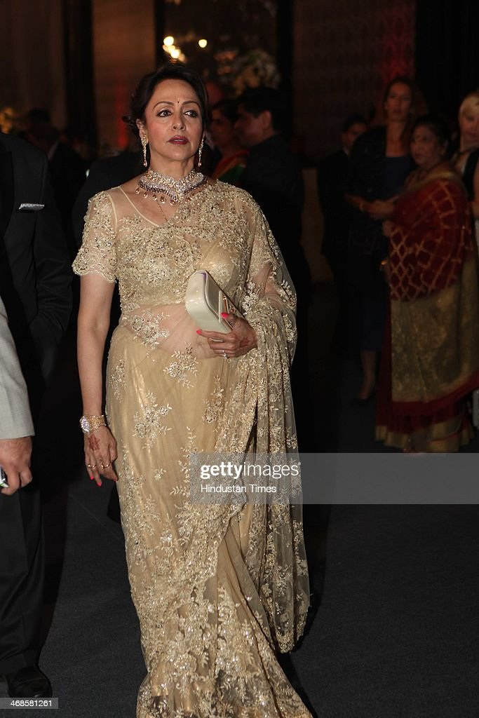Bollywood actor Hema Malini during the wedding reception of her daughter Ahana Deol and Vaibhav Vohra on February 5, 2014 in New Delhi, India. Ahana, a budding Odissi dancer, is the daughter of Bollywood stars Dharmendra and Hema Malini while Vaibhav in an Indian businessman. They married on February 2, 2014 in Mumbai.