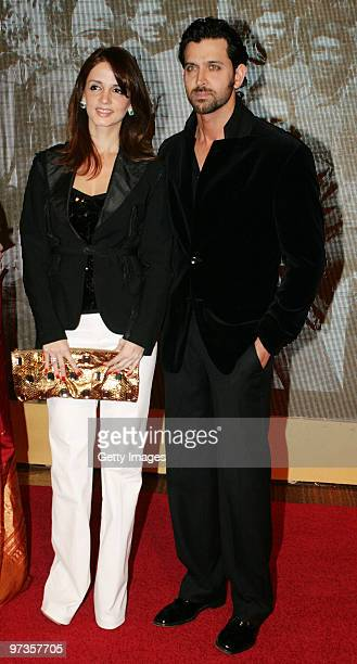 Bollywood actor Hrithik Roshan and his wife Suzanne attend a party hosted by Indian businessman Anil Ambani and his actress wife Tina February 28...
