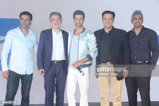 Bollywood actor Hrithik Roshan with Didier Rappaport CEO Happn app during the launch of a dating app 'Happn' at JW Marriott Juhu on April 7 2017 in...