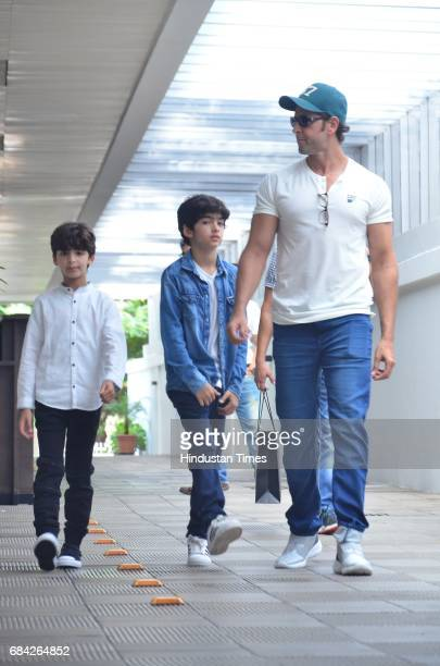 Bollywood actor Hrithik Roshan with his sons Hrehaan and Hridhaan spotted at Hakkasan Bandra on May 14 2017 in Mumbai India