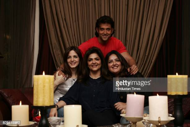 Bollywood actor Hrithik Roshan with mother Pinki and sister Sunaina Roshan and wife Susanne Khan at their residence in Juhu on Friday