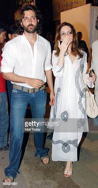 Bollywood actor Hrithik Roshan with wife Suzanne at the Chautha ceremony of Bollywood actor Dimple Kapadia's younger sister Simple Kapadia in Mumbai...