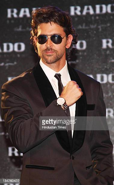 Bollywood actor Hritik Roshan during the launch of a Rado wrist watch after becoming its brand ambassador in Gurgaon India on November 29 2011
