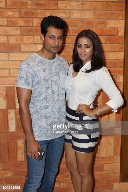 Bollywood actor Indraneil Sengupta and his wife Barkha Sengupta during the birthday party of actor Aftab Shivdasani at the Taj Lands End Hotel in...