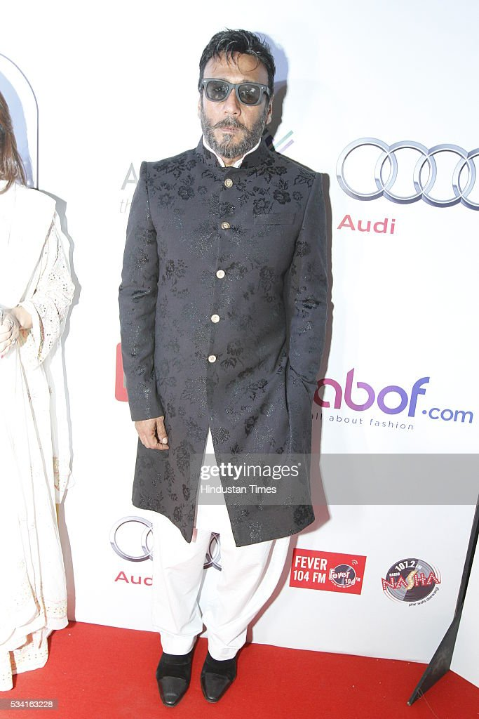 Bollywood actor Jackie Shroff arriving at red carpet for Hindustan Times Most Stylish Awards 2016 at hotel JW Marriot, Aerocity on May 24, 2016 in New Delhi, India.