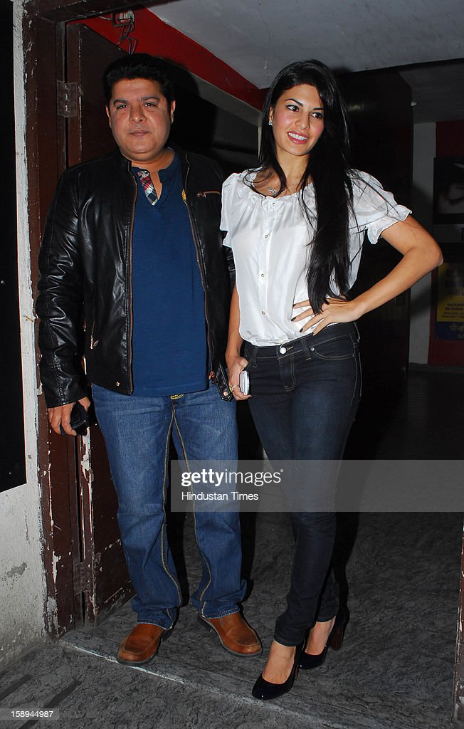 Bollywood actor Jacqueline Fernandez with filmmaker Sajid Khan attending special screening hosted by Ritesh Deshmukh for his first home production Marathi film 'Balak Palak' at PVR Juhu on January 2, 2012 in Mumbai, India.