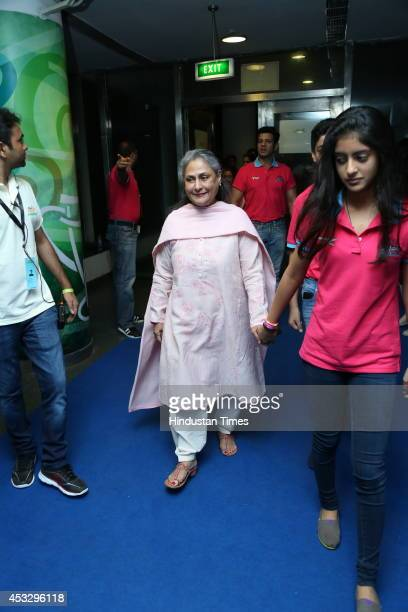 Bollywood actor Jaya Bachchan with her granddaughter Navya Naveli Nanda during ProKabaddi league match between Jaipur Pink Panthers and Dabang Delhi...