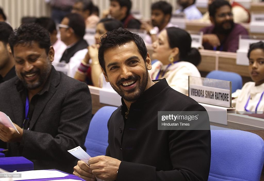 Bollywood actor John Abraham attends 60th National Film Awards on May 03, 2013 in New Delhi , India. Paan Singh Tomar' got best film award and its lead actor Irrfan Khan adjudged as the best actor.