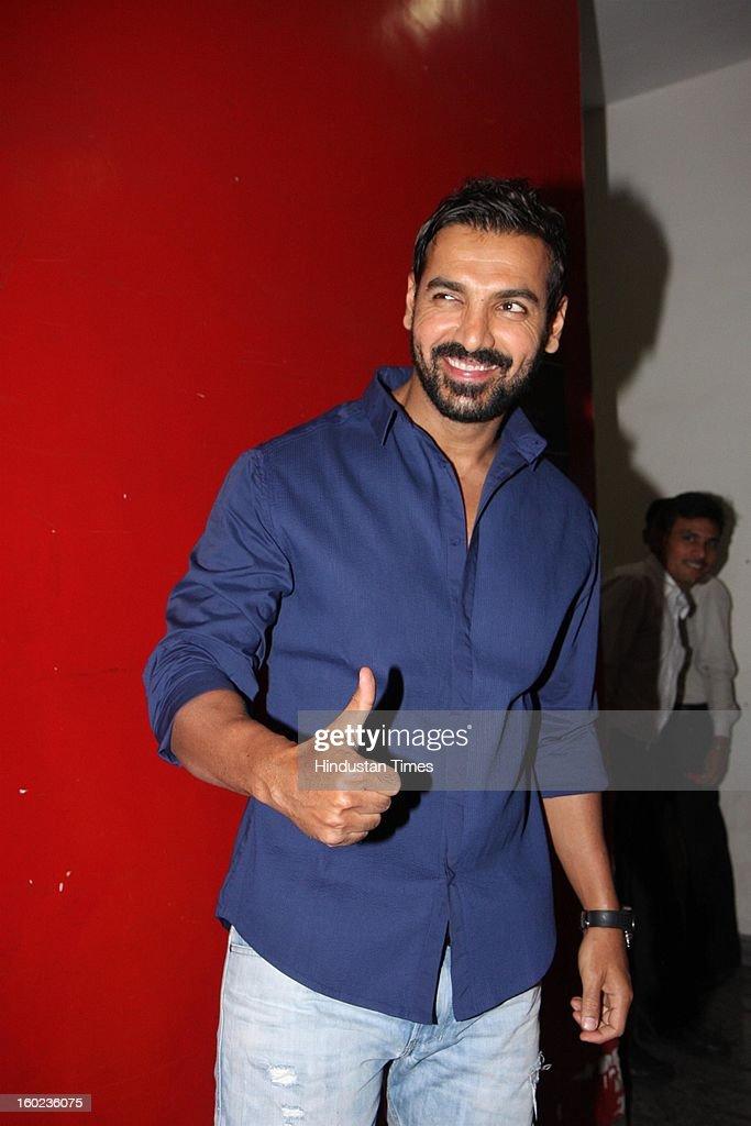 Bollywood actor John Abraham during special Screening of upcoming movie Race 2 at PVR, Juhu on January 24, 2013 in Mumbai, India.