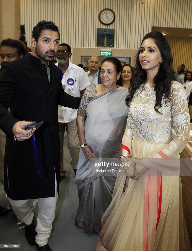 Bollywood actor John Abraham with his girlfriend Priya Runchal at 60th National Film Awards on May 03, 2013 in New Delhi , India. Paan Singh Tomar' got best film award and its lead actor Irrfan Khan adjudged as the best actor.