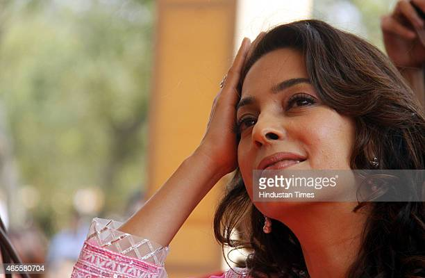 Bollywood actor Juhi Chawala during an opening of 'W Hospital' on the occasion of International Women's Day on March 08 2015 in Gurgaon India