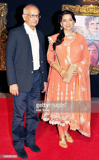 Bollywood actor Juhi Chawla and Jay Mehta at the grand premiere of Yash Chopra film Jab Tak ai Jaan at YRF Studios in Mumbai on Monday