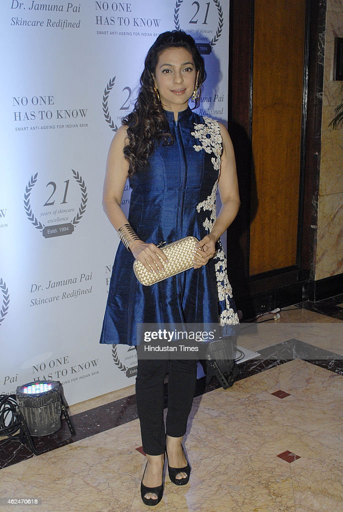 Bollywood actor <a gi-track='captionPersonalityLinkClicked' href=/galleries/search?phrase=Juhi+Chawla&family=editorial&specificpeople=2849898 ng-click='$event.stopPropagation()'>Juhi Chawla</a> during launch of Aesthetic physician Jamuna Pai's debut book on skincare 'No One Has To Know' at Taj Landsend, Bandra on January 27, 2015 in Mumbai, India.