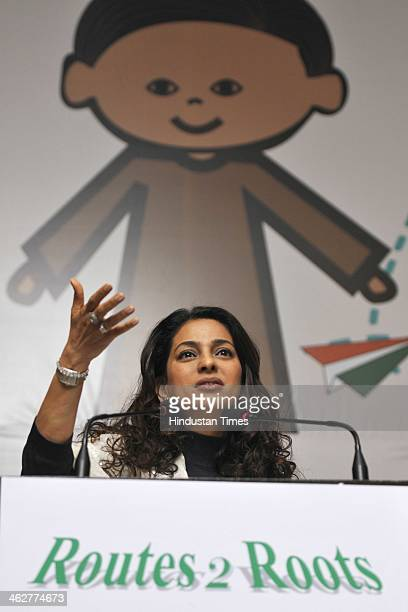 Bollywood actor Juhi Chawla during the Student Exchange for Change Program 20132015 at Hotel Grand Vasant Kunj on January 15 2014 in New Delhi India...