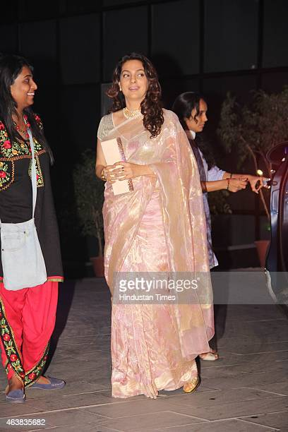Bollywood actor Juhi Chawla during the wedding reception of Bollywood filmmaker Smita Thackeray's son Rahul Thackeray and Aditi Redkar on February 13...