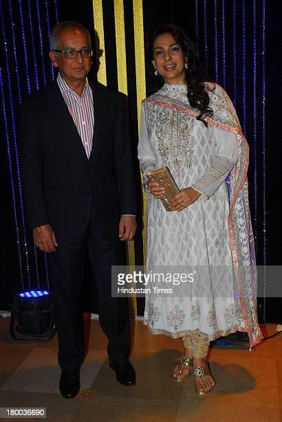 Bollywood actor Juhi Chawla with her husband Jai Mehta during the 64th birthday celebrations of actor turned producer Rakesh Roshan at Blue Sea Worli...