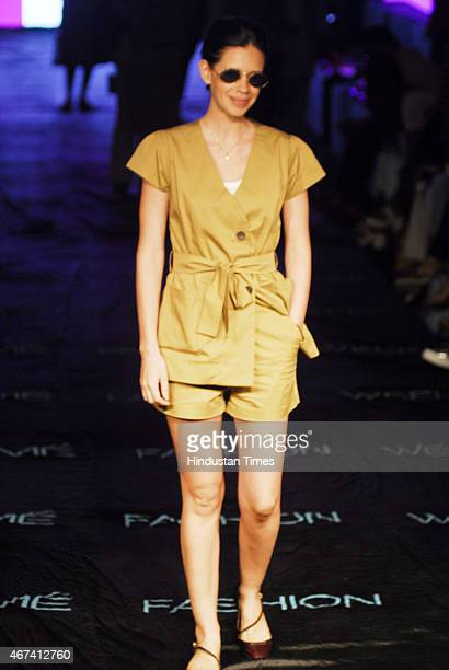 Bollywood actor Kalki Koechlin at Lakme Fashion Week Summer/Resort 2015 on day 2 on March 20 2015 in Mumbai India