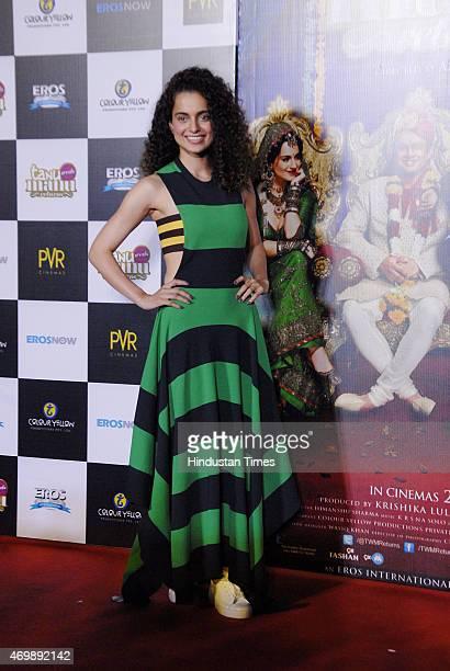 Bollywood actor Kanagana Ranaut during the trailer launch of film Tanu Weds Manu Returns at PVR ECX Andheri on April14 2015 in Mumbai India