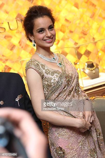 Bollywood actor Kangana Ranaut during the launch of Sunar Jewelry on April 20 2015 in New Delhi India