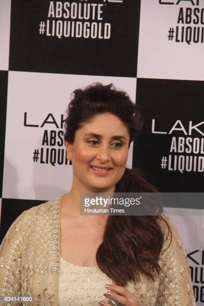 Bollywood actor Kareena Kapoor during a show by Anita Dongre at the grand finale of Lakme Fashion Week Summer/Resort 2017 at JIO Ground BKC on...