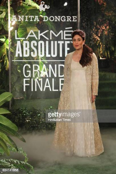 Bollywood actor Kareena Kapoor walks the ramp showcasing the collection of surreal dream by designer Anita Dongre during the grand finale of Lakme...
