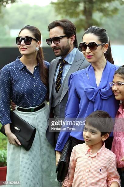 Bollywood actor Kareena Kapoor with her husband Saif Ali Khan sister Karisma Kapoor and her children Samiera and Kiaan Raj during Bhopal Pataudi Polo...