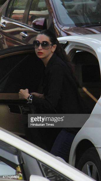 Bollywood actor Karisma Kapoor arrives to meet Salman Khan at his residence a day after verdict in hit and run case on May 7 2015 in Mumbai India...