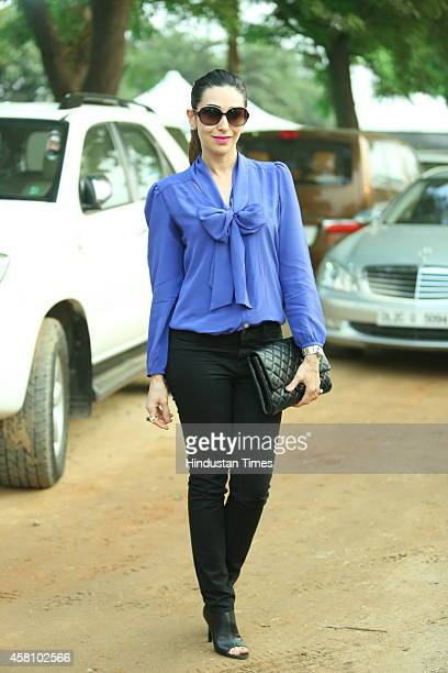 Bollywood actor Karisma Kapoor during Bhopal Pataudi Polo Cup 2014 at the Jaipur Polo ground on October 26 2014 in New Delhi India