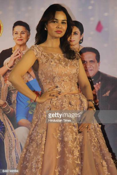Bollywood actor Kavita Verma during a trailer launch of movie 'Laali Ki Shaadi Mein Laddoo Deewana' at Cinepolis Andheri on February 27 2017 in...