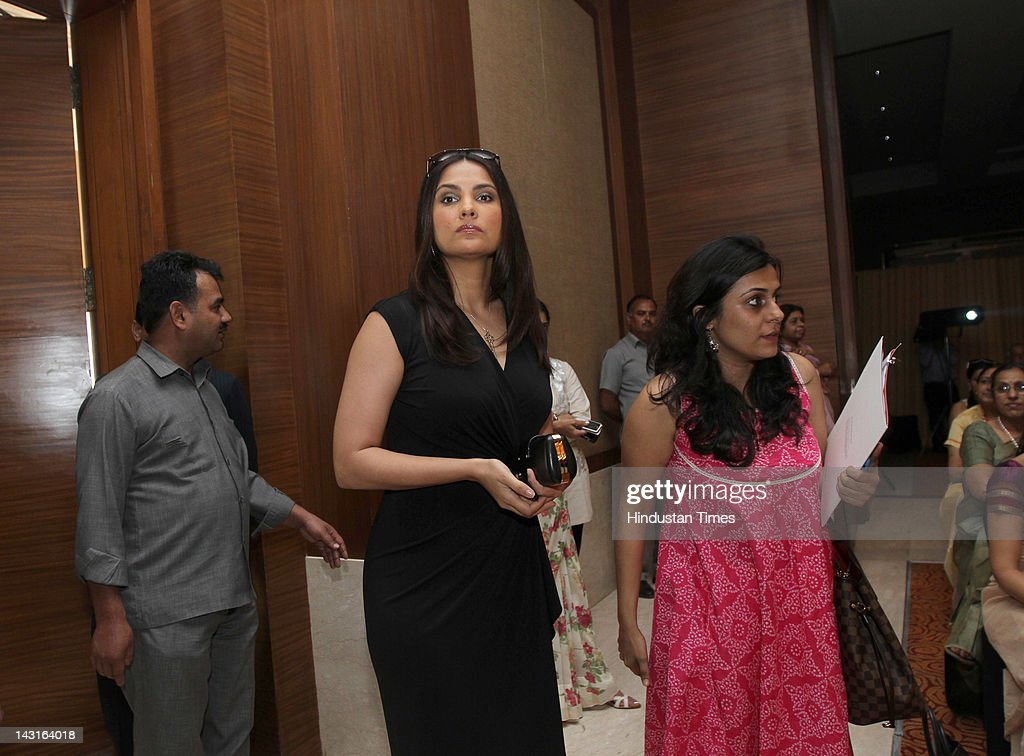 Bollywood Actor <a gi-track='captionPersonalityLinkClicked' href=/galleries/search?phrase=Lara+Dutta&family=editorial&specificpeople=728080 ng-click='$event.stopPropagation()'>Lara Dutta</a> attends the celebration of womanhood at the Young Women Achievers Award 2011-2012 held at The Lalit Hotel on April 11, 2012 in New Delhi, India .