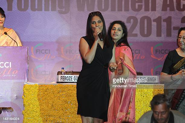 Bollywood Actor Lara Dutta with Entrepreneur Avantika Dalmia speaks at the celebration of womanhood at the Young Women Achievers Award 20112012 held...