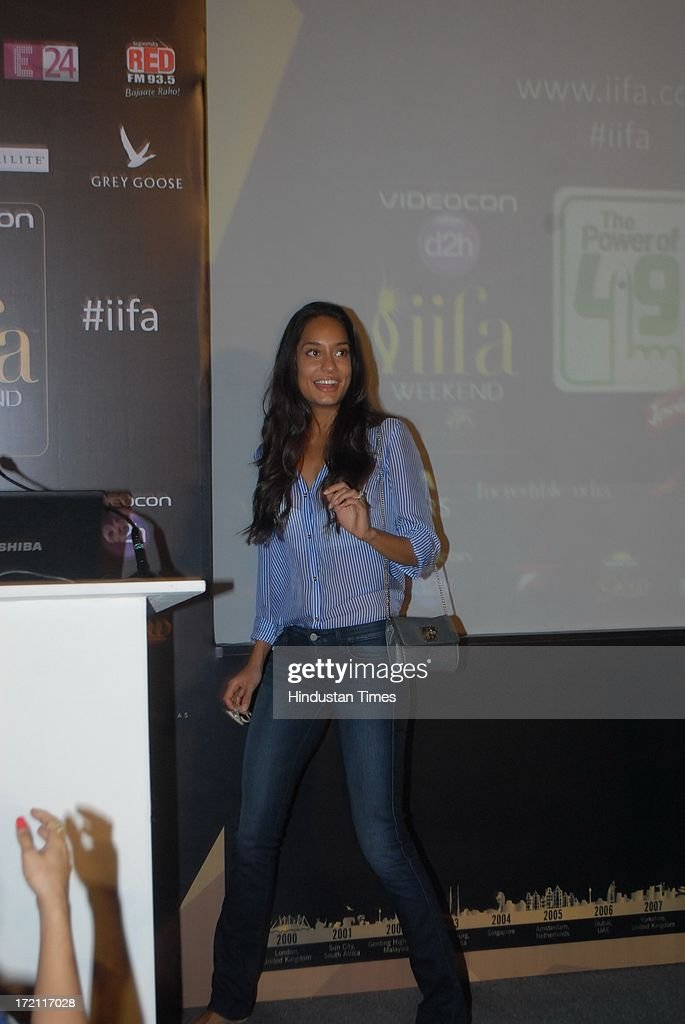 Bollywood actor Lisa Haydon during the IIFA 2013 Press Conference at PVR Andheri on July 1, 2013 in Mumbai, India. At a press conference on Monday, July 1, the International Indian Film Academy (IIFA) announced the performances that will be held at their annual weekend awards ceremony in Macau. Boman and Vir will host the IIFA Rocks event, while Shah Rukh Khan and Shahid Kapoor will compere the IIFA awards ceremony.