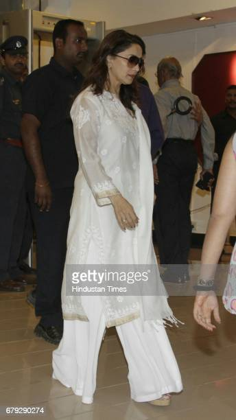 Bollywood actor Madhuri Dixit Nene during the prayer meeting organised for the late Bollywood veteran Vinod Khanna at Worli on May 3 in New Delhi...