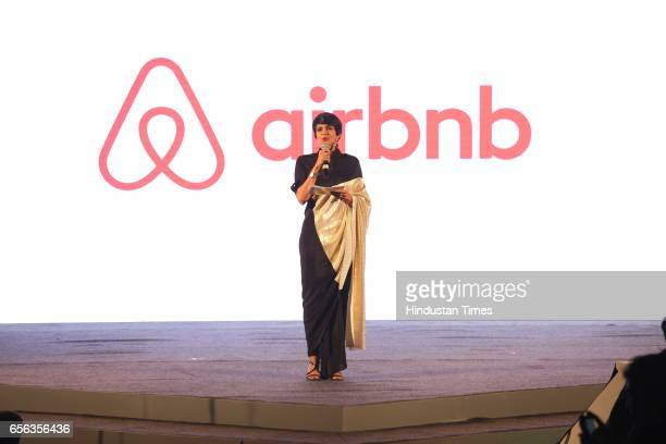 Bollywood actor Mandira Bedi during a special show curated by designer duo Shantanu Nikhil for the travel platform Airbnb on March 19 in New Delhi...