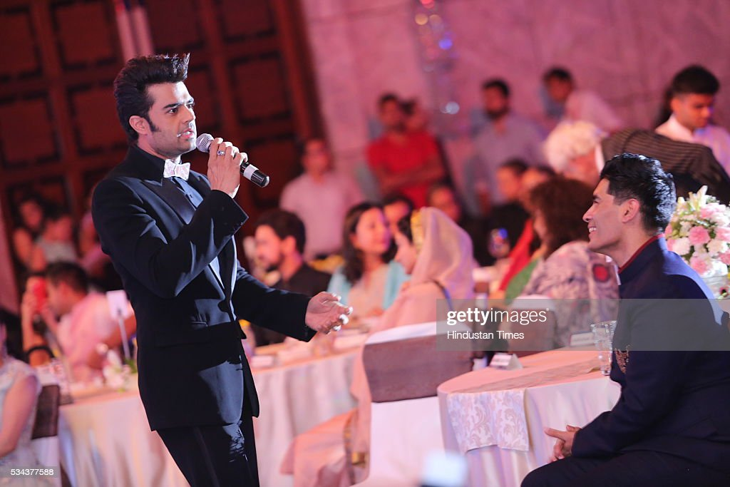 Bollywood actor Manish Paul with designer Manish Malhotra during a sixth edition of Hindustan Times Most Stylish Awards 2016 at Hotel JW Marriot, Aerocity on May 24, 2016 in New Delhi, India.