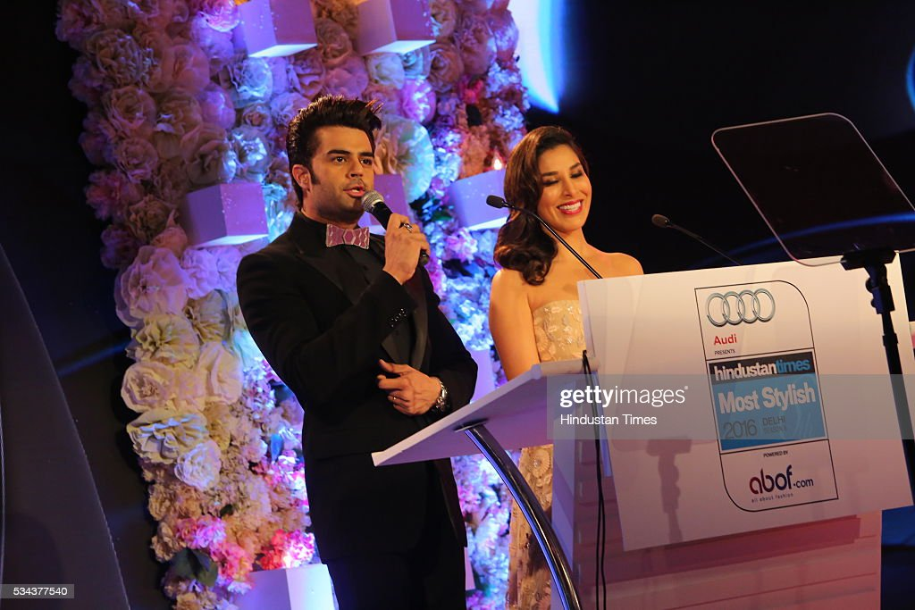 Bollywood actor Manish Paul with singer Sophie Choudry during a sixth edition of Hindustan Times Most Stylish Awards 2016 at Hotel JW Marriot, Aerocity on May 24, 2016 in New Delhi, India.