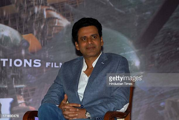 Bollywood actor Manoj Bajpai during the theatrical trailer release of film Satyagraha at Taj Lands End Bandra on June 26 2013 in Mumbai India...