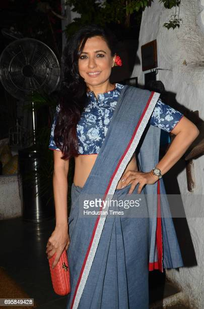 Bollywood actor Mini Mathur during the launch of fashion designer Mayur Girotra's exclusive pret line White Elephant at Olive Bar and Kitchen on May...