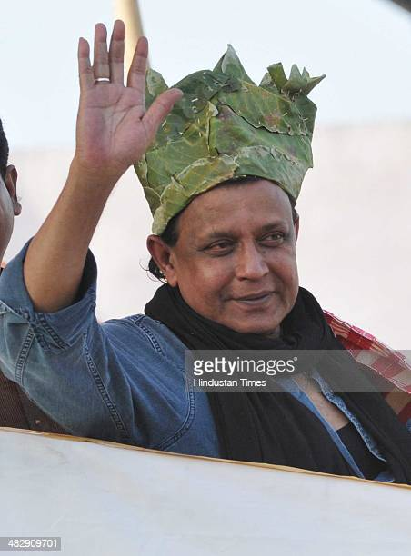 Bollywood actor Mithun Chakravorty during an election rally of Trinamool Congress at Morhabadi ground on April 5 2014 in Ranchi India Mamta Banerjee...