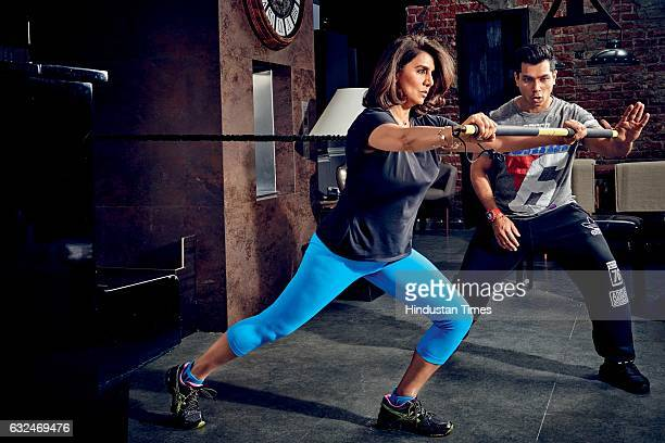 Bollywood actor Neetu Singh with her trainer Yogesh Bhateja during an exclusive interview with BrunchHindustan Times on January 16 2017 in Mumbai...